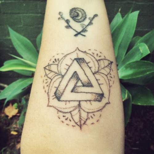 Penrose Triangle And Flower Tattoos
