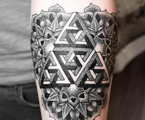 Penrose Triangle And Mandala Tattoos On Arm