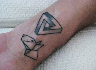Penrose Triangle And Origami Tattoos On Wrist