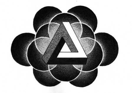 Penrose Triangle Dotwork Tattoo Model