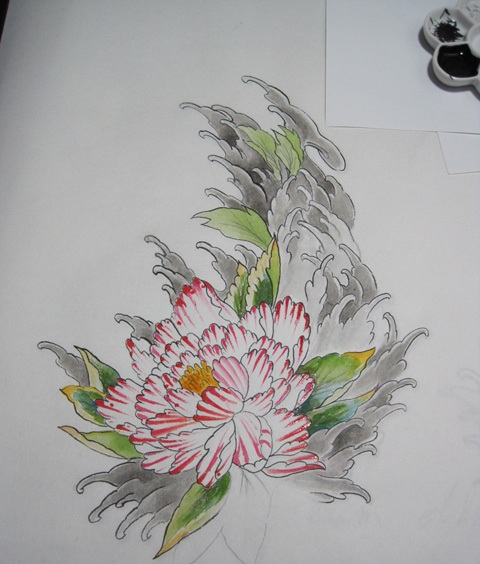 Peony And Waves Tattoo Design