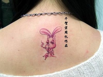 Pink Ink Bunny Rabbit Tattoo Fashion For Girls