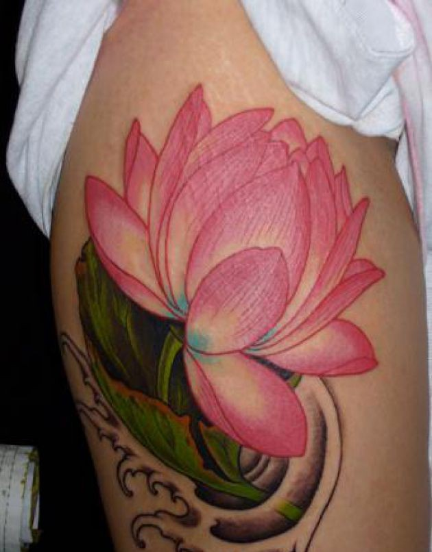 Pink Lotus And Waves Tattoos