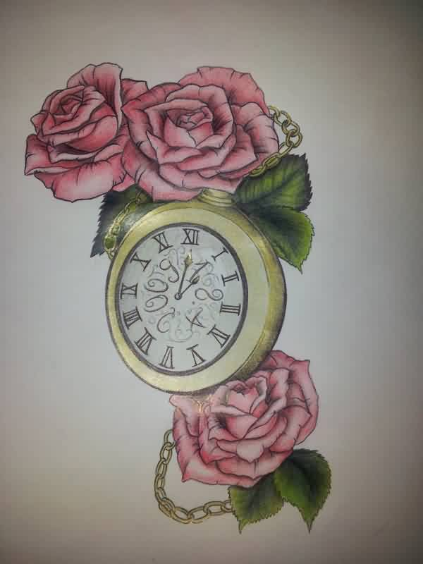 Roses And The Clock Tattoo Designs