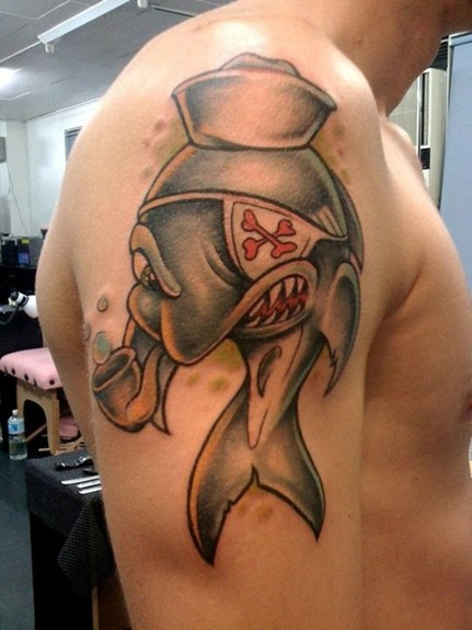 Pirate Cartoon Shark Tattoo On Right Shoulder