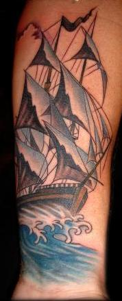 Pirate Ship And Blue Wave Forearm Tattoos
