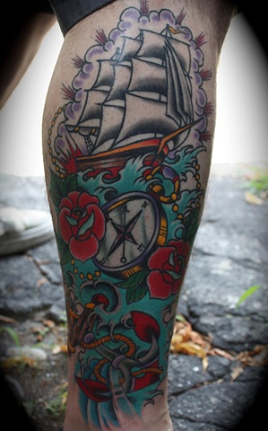 Pirate Ship Compass And Wave Tattoos