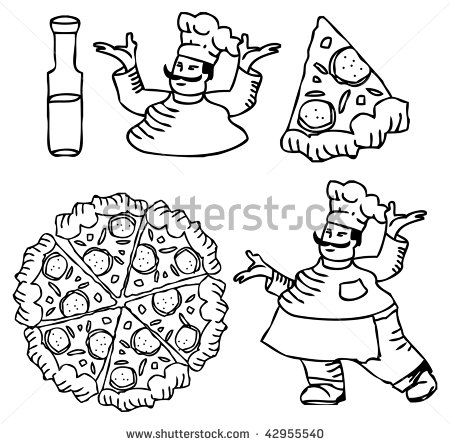 Pizza And Chef Tattoos Icons