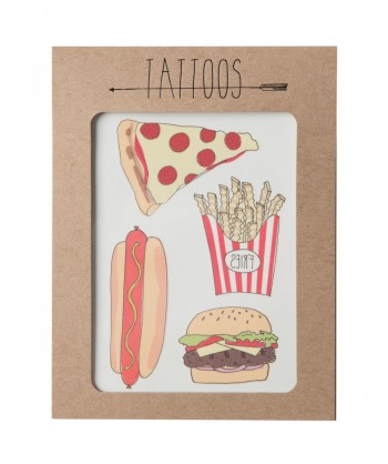 Pizza Burger Tattoos Sheet