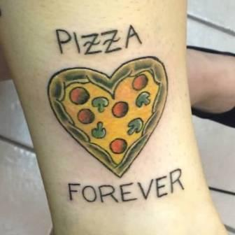 Pizza Forever Heart Tattoo