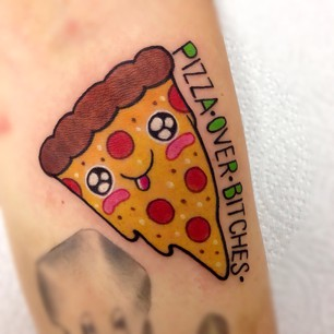 Pizza Over Bitches Tattoo On Foot