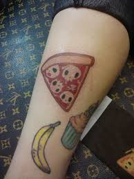 Pizza Slice Cupcake And Banana Tattoos