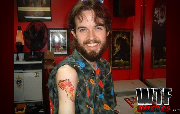 Pizza Tattoo On Shoulder Of Guy