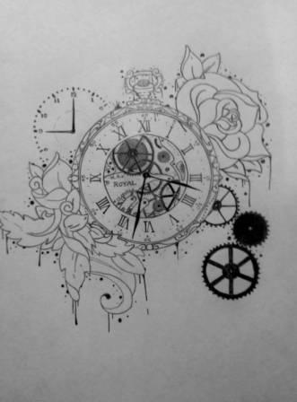 Pocketwatch Time Gears Clock Rose Tattoo Drawing