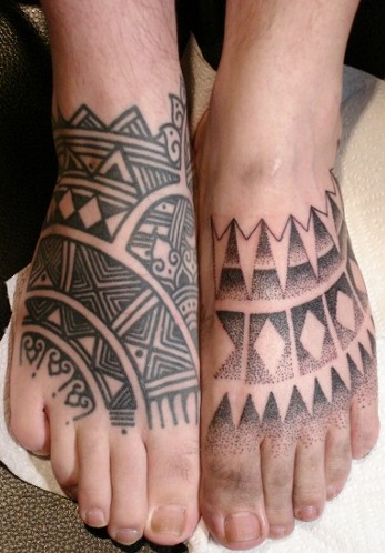 Polynesian And Dotwork Tattoos On Feet