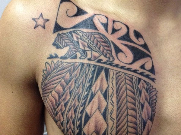 Polynesian And Samoan Tattoos On Chest