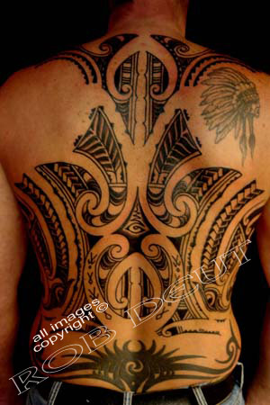 Polynesian And Tribal Tattoos On Full Back
