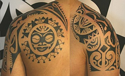 Polynesian Back And Shoulder Tattoos