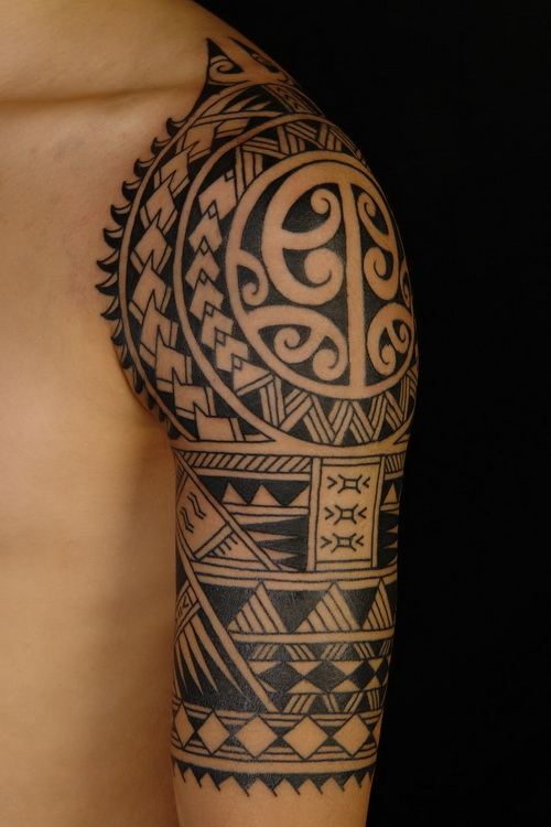 Polynesian Black Tattoo On Half Sleeve