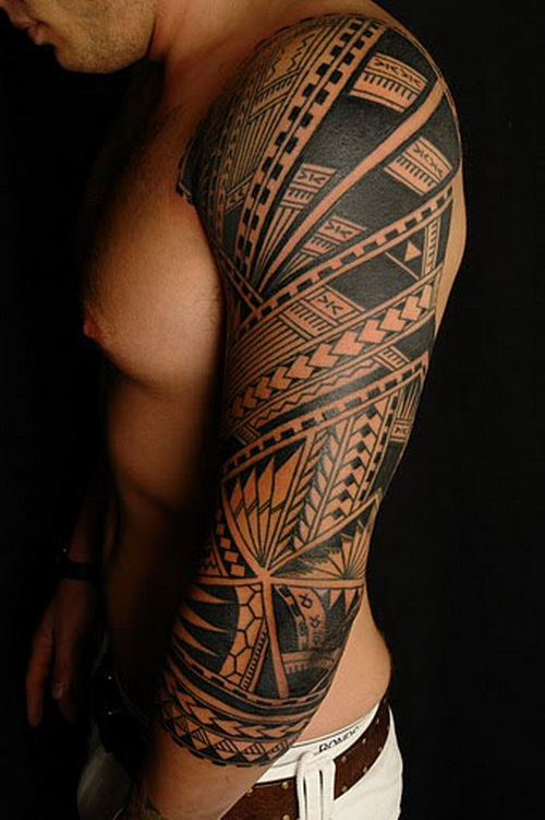 Polynesian Black Tattoo On Left Sleeve