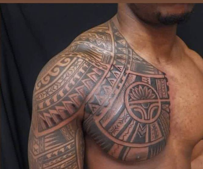 Polynesian Chest Tattoo Photo