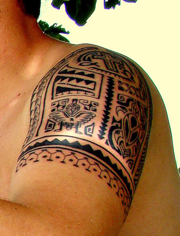 Polynesian Cross And Turtle Tattoos On Shoulder