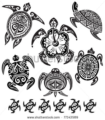 Polynesian Decorative Turtles Tattoos Set