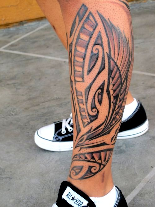 Outstanding Polynesian Feather Tattoo On Leg