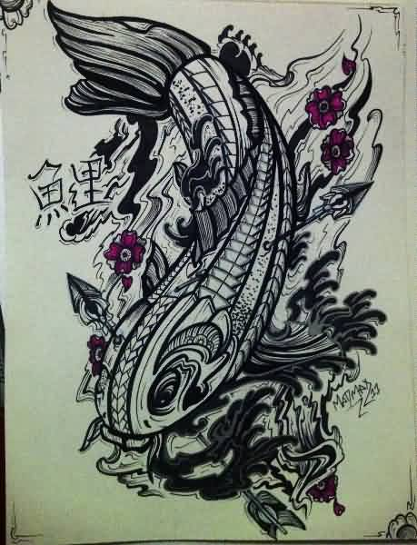 Polynesian Fish And Flowers Tattoo Design