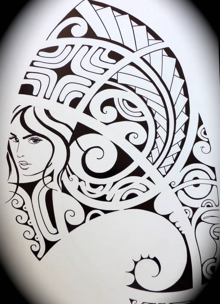 Polynesian Girl Tattoo Design