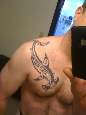 Polynesian Hammerhead Shark Tattoo On Front Of Guy