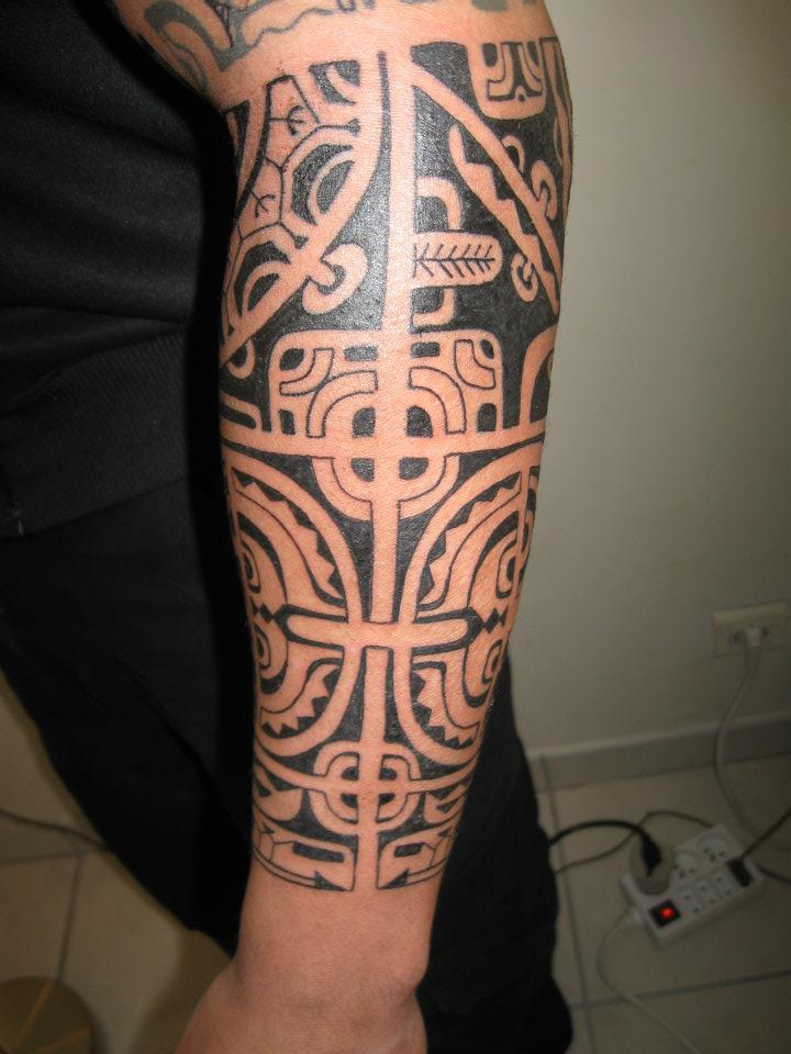Polynesian Hawaiian Tattoo On Lower Sleeve