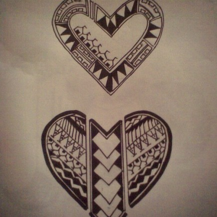 Polynesian Heart Tattoos Print