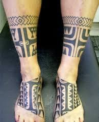 Polynesian Leg Band And Feet Tattoos