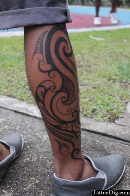 Polynesian Leg Tattoo Style For Boys
