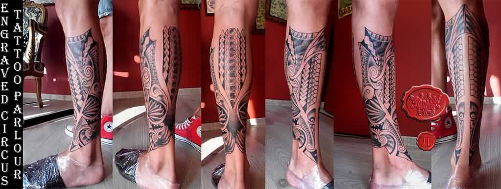Polynesian Leg Tattoo With A Twist