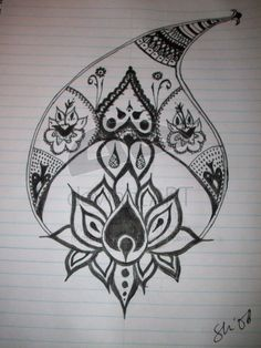 Polynesian Lotus Tattoo Sketch