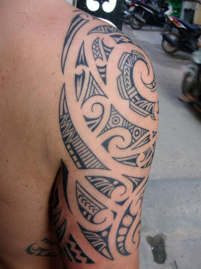 Polynesian Maori Tattoo On Half Sleeve