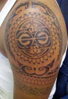 Polynesian Maori Tattoos On Left Half Sleeve