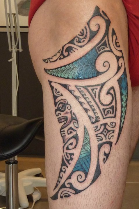Polynesian Maori Tikit Tattoo On Thigh