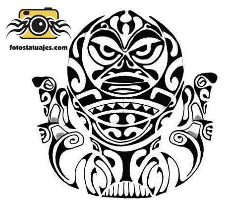 Polynesian Mask Tattoo Stencil