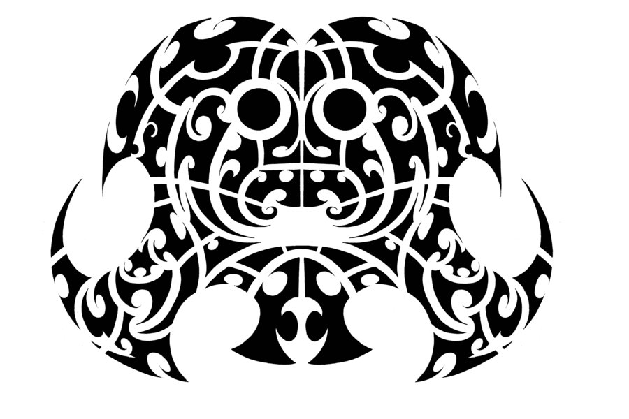 Polynesian Mask Tribal Tattoo Design