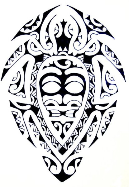 Polynesian Mask Turtle Tattoo Design