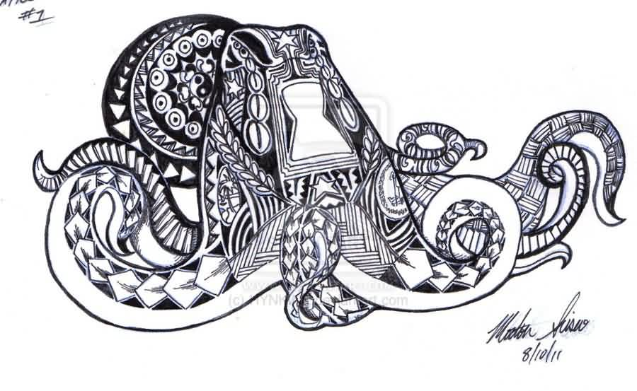 Polynesian Octopus Tattoo Sketch