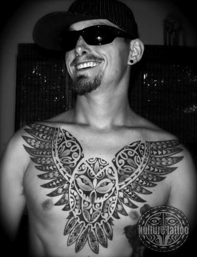 Polynesian Owl Chestpiece Tattoo For Guys