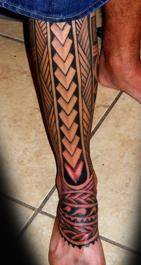 Polynesian Samoan Maori Hawaiian Tattoos On Leg