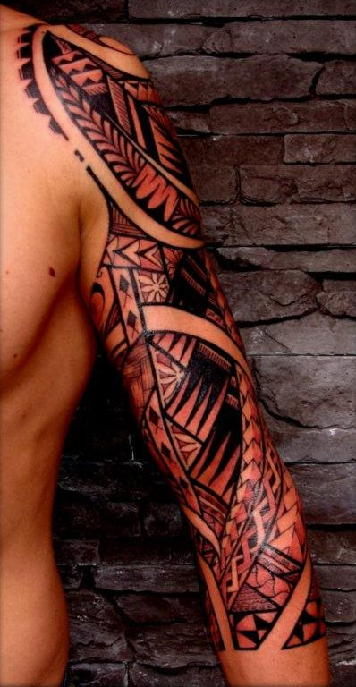 Polynesian Samoan Maori Tiki Tattoos On Sleeve