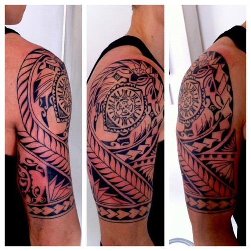 Polynesian Sea Turtle Tattoo On Half Sleeve