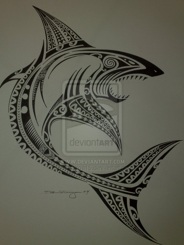 Polynesian Shark Tattoo Print