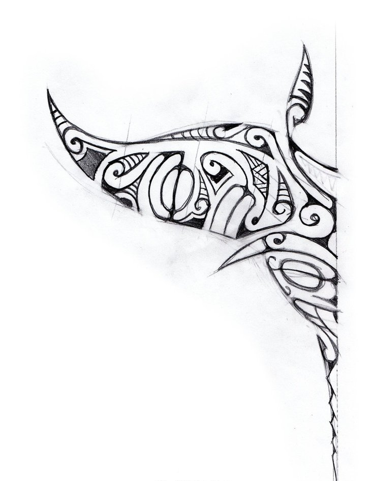 Polynesian Style Manta Ray Tattoo Design